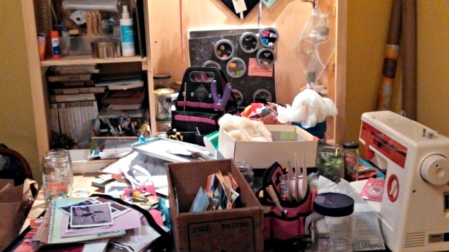 And my little corner workshop that gets heaped with every miscellaneous thing?