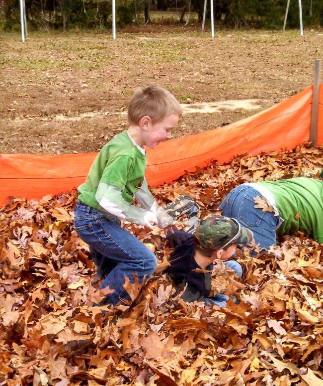 One of the most popular activities was the leaf pile. A square was created using silt fencing and then filled with leaves that everyone brought from home. Simple. Amazingly fun!