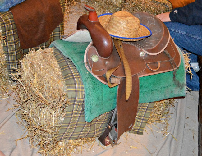 "Straw bale ""movie theater"" seating for a #cowboy #western themed birthday party at Walking in High Cotton"