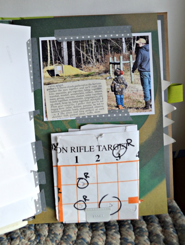 Here you can see that under all the pictures on the right page I stashed the actual target they used while we were on the range, with everyone's initials around their shot.
