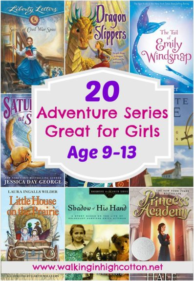 20 great adventure chapter book series for middle grade girls in the 8-12 yo range. Good choice to engage reluctant readers, several choices fit well with history unit studies, and all are great as read-alouds! via Walking in High Cotton