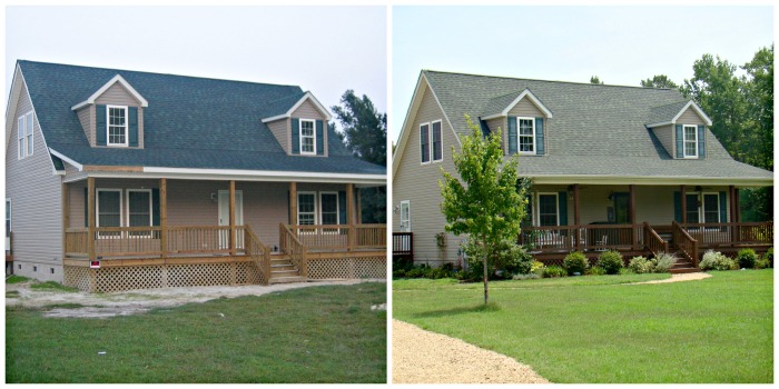 Our house under construction in 2004, and later in 2010.