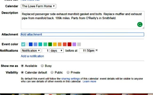 google calendar for farm records