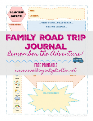 FREE printable family road trip journal via Walking in High Cotton