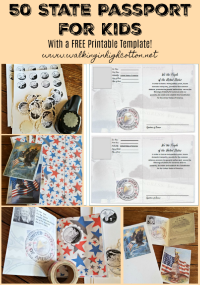 DIY 50 State Passport for Kids...travel and learning fun with FREE Printable Template...via Walking in High Cotton