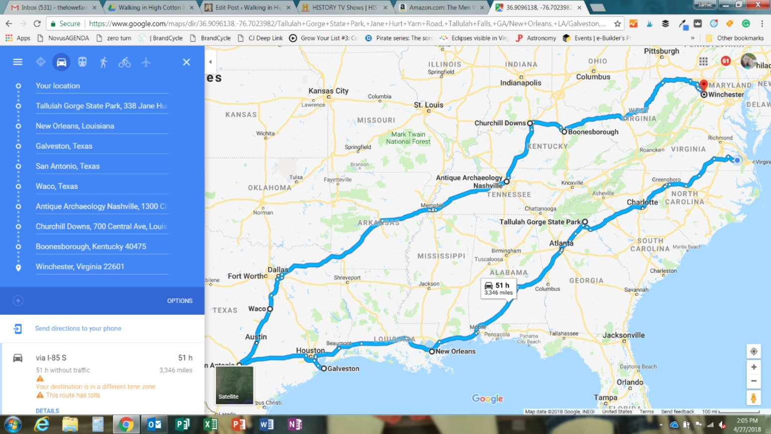 Using google maps to lay out directions for a flexible family road trip