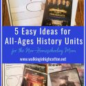 5 easy ideas for all-ages history unit studies. Perfect for relaxed summer engagement, homeschooling, or unexpected crisis learning. via Walking in High Cotton