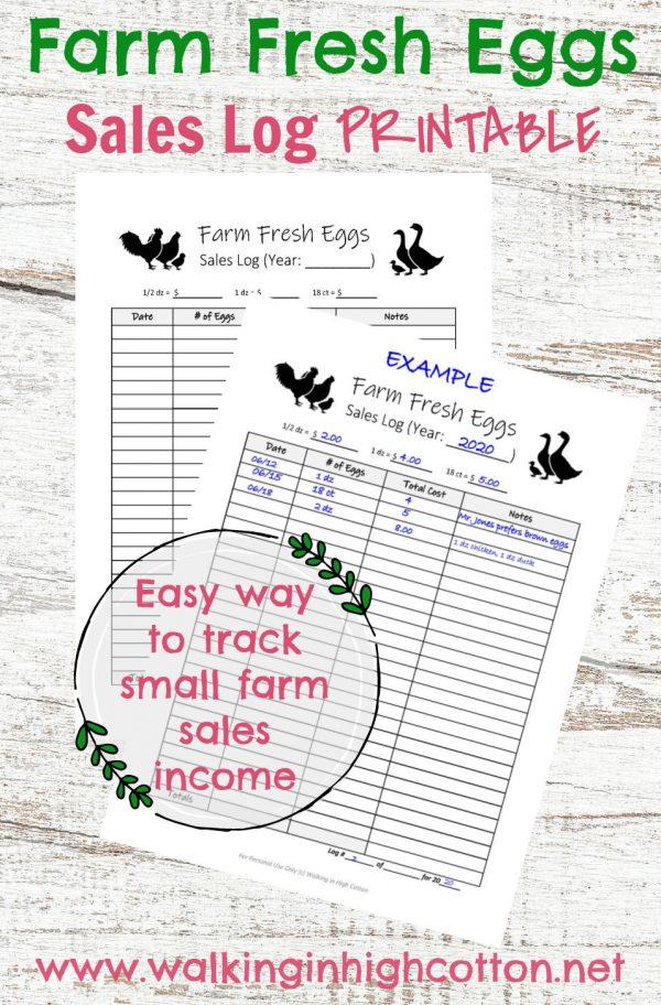 Farm Fresh Eggs Sales Log PRINTABLE via Walking in High Cotton